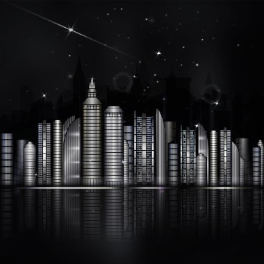 Night black and white city in vector. Town with skyscraper, rive