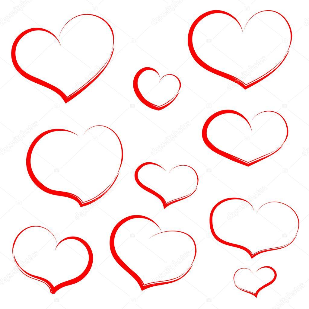 контур картинки сердце