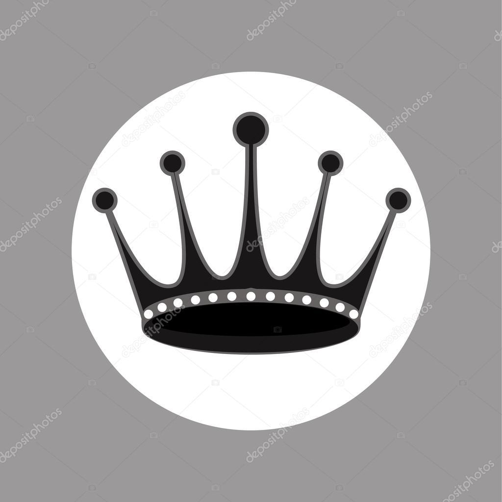 Icono De Vector De Diseño De Corona De Blanco Y Negro Archivo