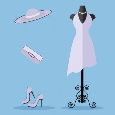 Tailors dummy with a dress and fashion accessories vector illustration