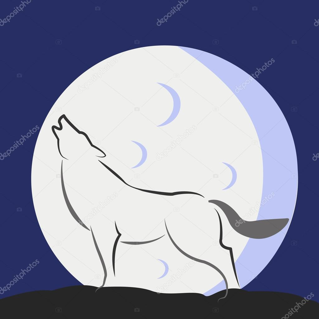 Huilende Wolf Met Een Volle Maan Abstract Vector Kunst Stockvector