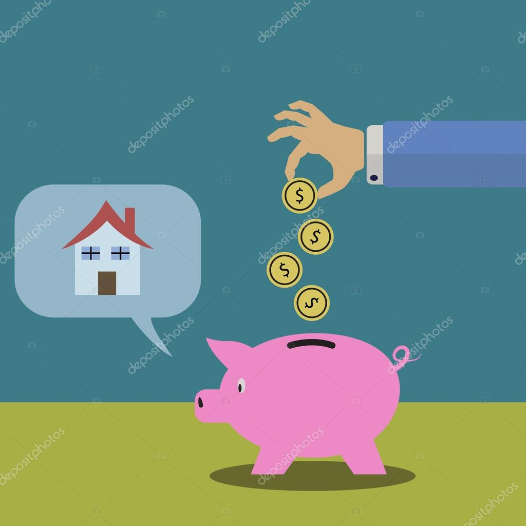 Saving Money For Buying A House U2014 Stock Vector