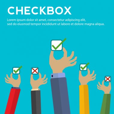 Hands holding checkboxes with right and wrong answers vector concept