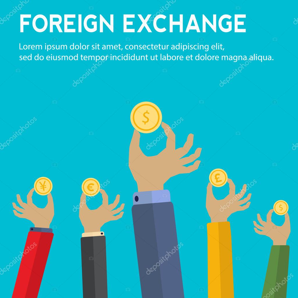 Foreign exchange vector concept with hands holding coins with foreign exchange vector concept with hands holding coins with symbols for yen pound sterling biocorpaavc Images