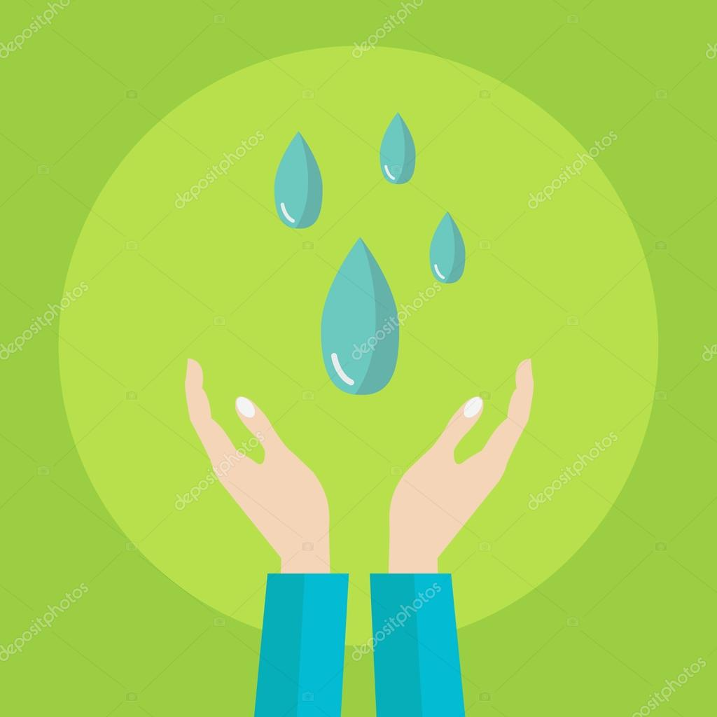 Hands holding drops of water, save water vector concept