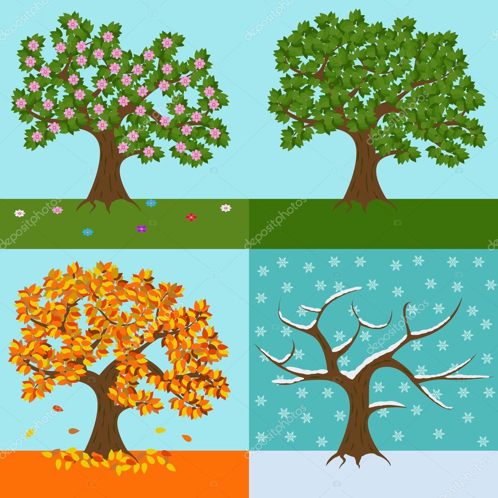 Dört Yıllık Mevsim Bahar Yaz Sonbahar Ve Kış Vektör çizim