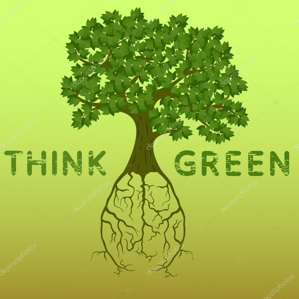 Tree with roots forming a human brain, ecology think green poster vector illustration