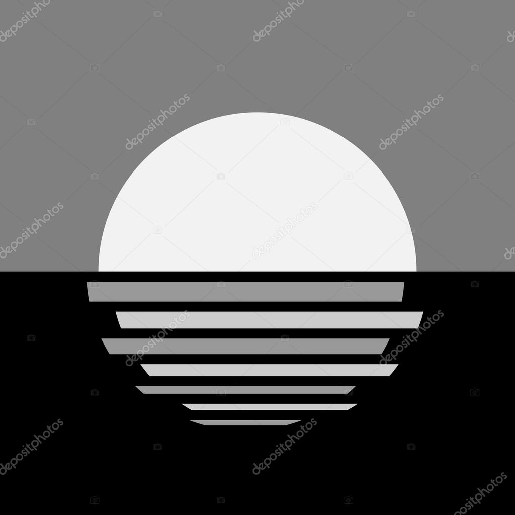 Beautiful ocean sunset icon
