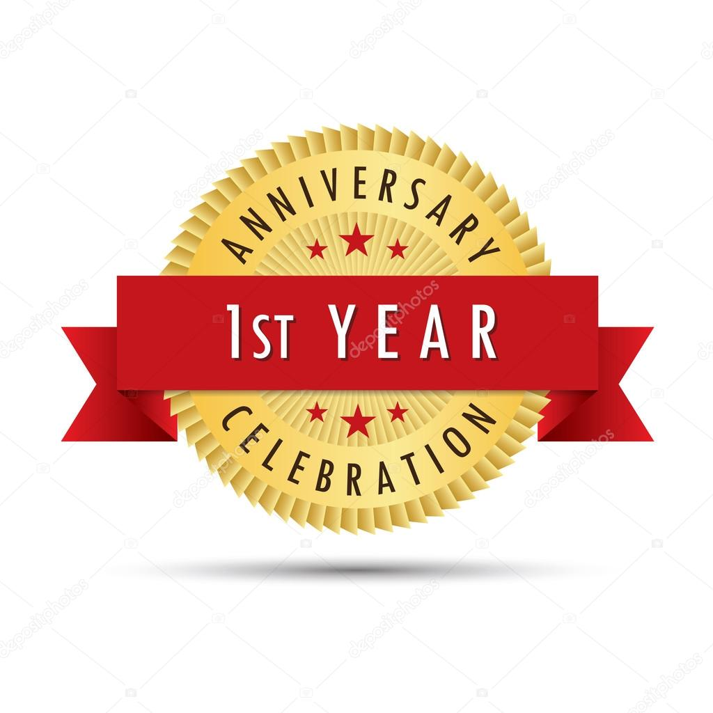 First year anniversary celebration icon logo stock