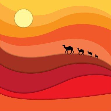 Camels caravan across desert