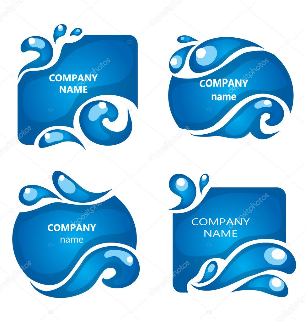 Water labels - company name design elements  Water icon  Collection