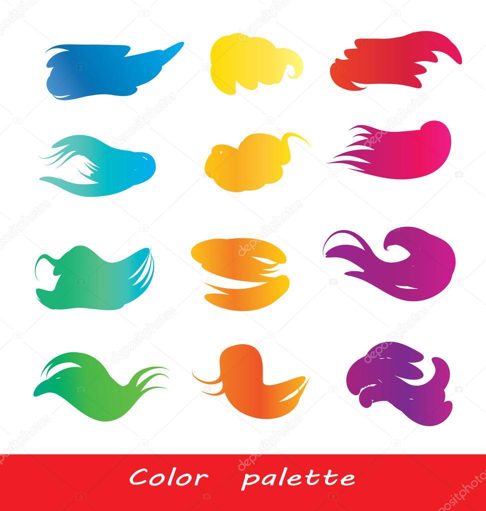 Set Of Vector Watercolor Brush Strokes Full Color Wheel Palette On