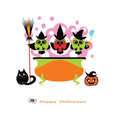Halloween vector illustration -  cute Owl Witches cooking potion in cauldron. Witch cauldron, Owls, witch hat, cat, pumpkin, broom. Cute Halloween card - flat silhouettes. Eps 10. Isolated on white.
