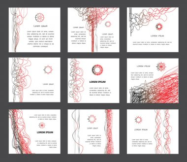 Abstract page designs collection.Curve Lines Digital Backgrounds collection. Set of page design, abstract backgrounds. Smooth wavy lines, black and red on white.