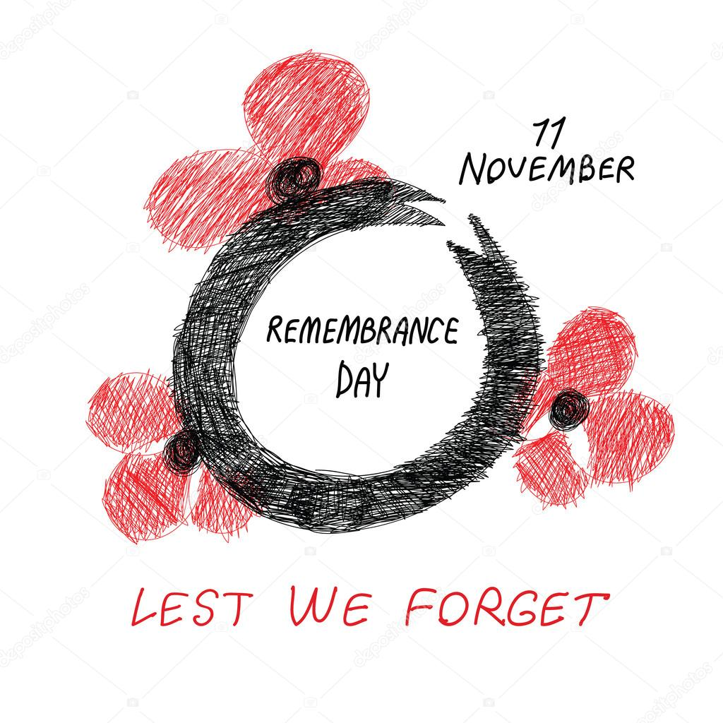 lest we forget hand drawn remembrance card sketchy drawing of