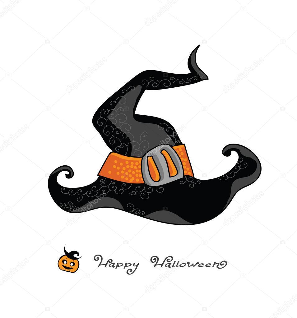 happy halloween - illustration vectorielle de sorcière chapeau