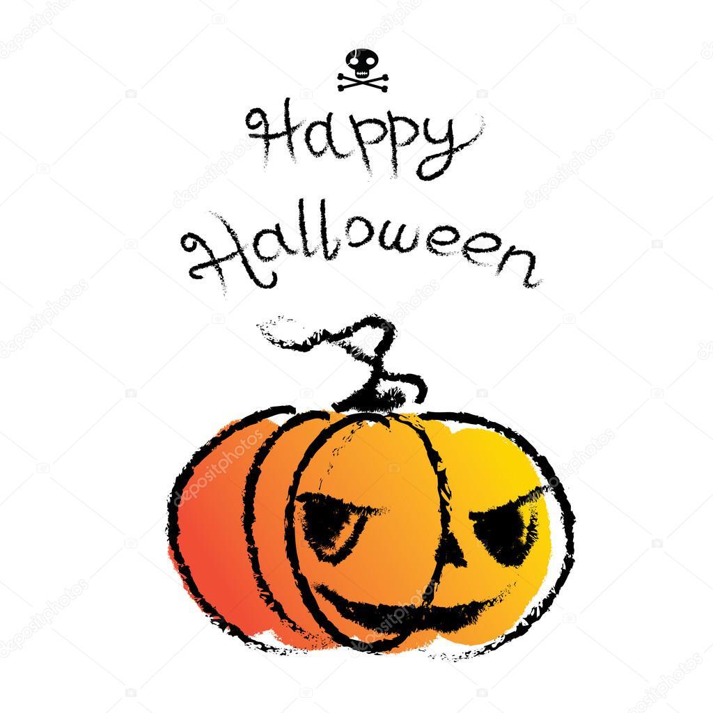 Hand gezeichnete lustige Happy Halloween Grußkarte. Retro-Cartoon ...