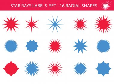 Star rays - Set of Retro Sun burst shapes,blue and red. Vector stars and sparkle silhouettes festive design elements.