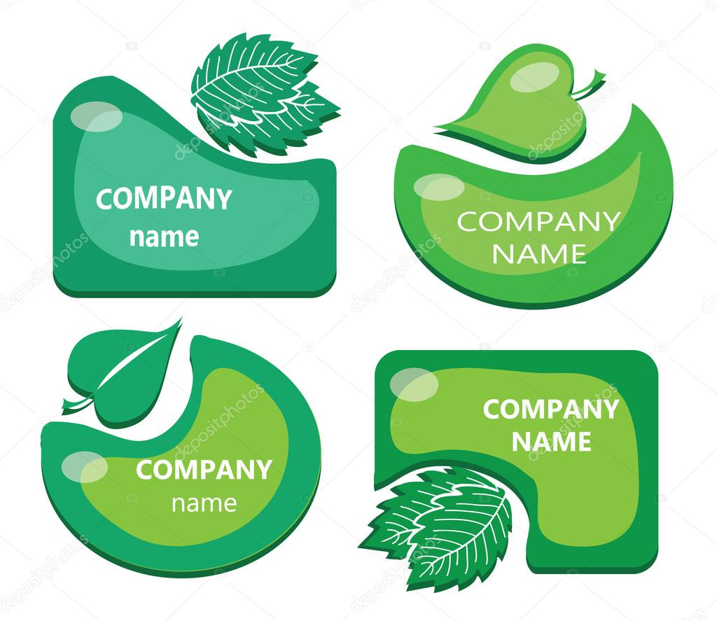 Vector set of leaf labels / stickers - cute green frames / backgrounds collection. 4 green shapes with leaves. Circle and rectangle border set for natural products. Green energy, fresh food concept.