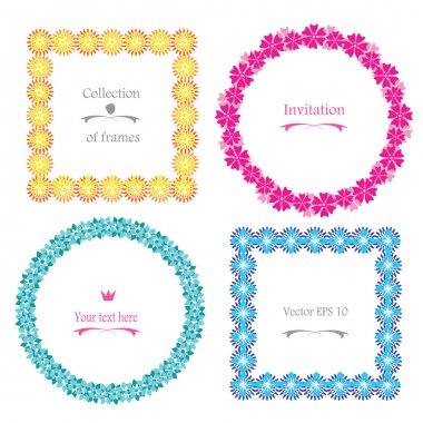 Cute Floral Frame vector set - retro flowers wreath and border arranged un a shape of the abstract flower shapes. Circle ans square frames collection, best for wedding invitations or birthday cards.