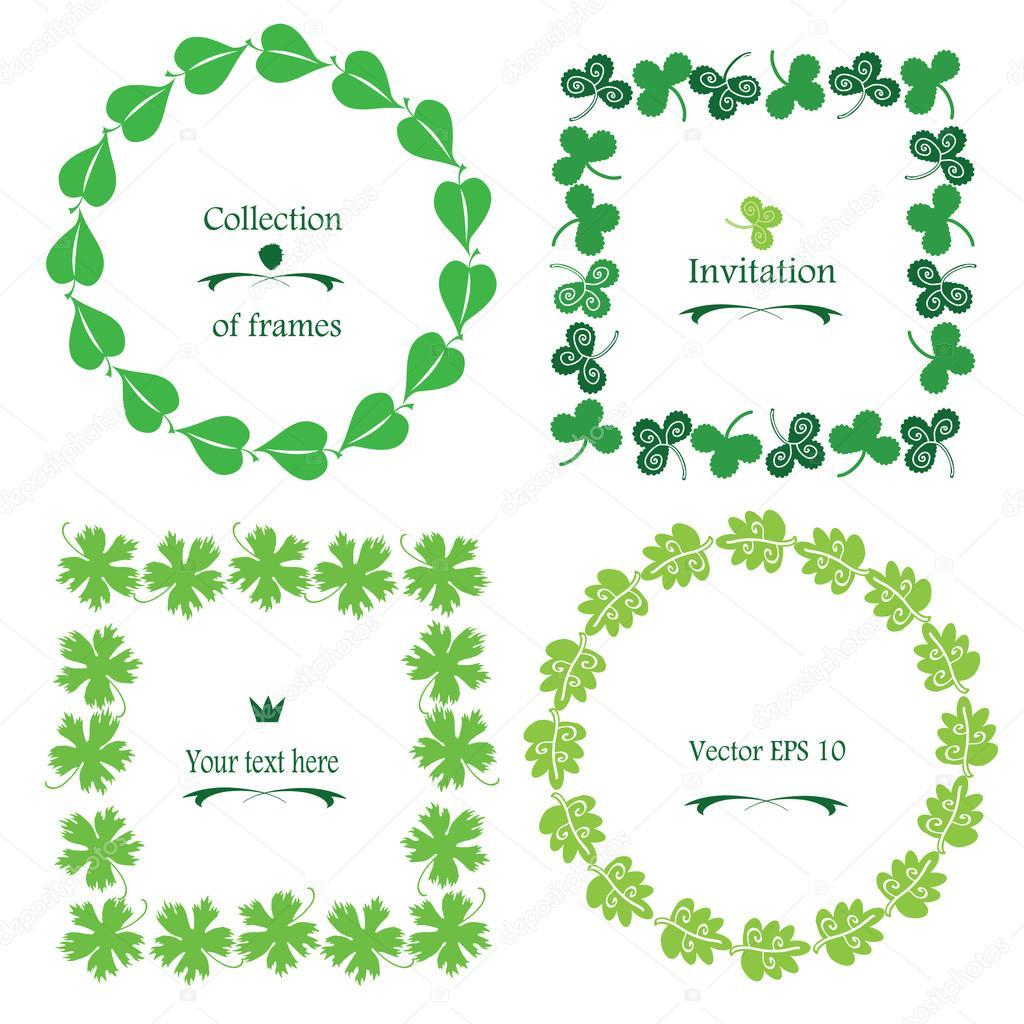 Verdes hojas vector frontera / marco conjunto. Marco cuadrado y ...