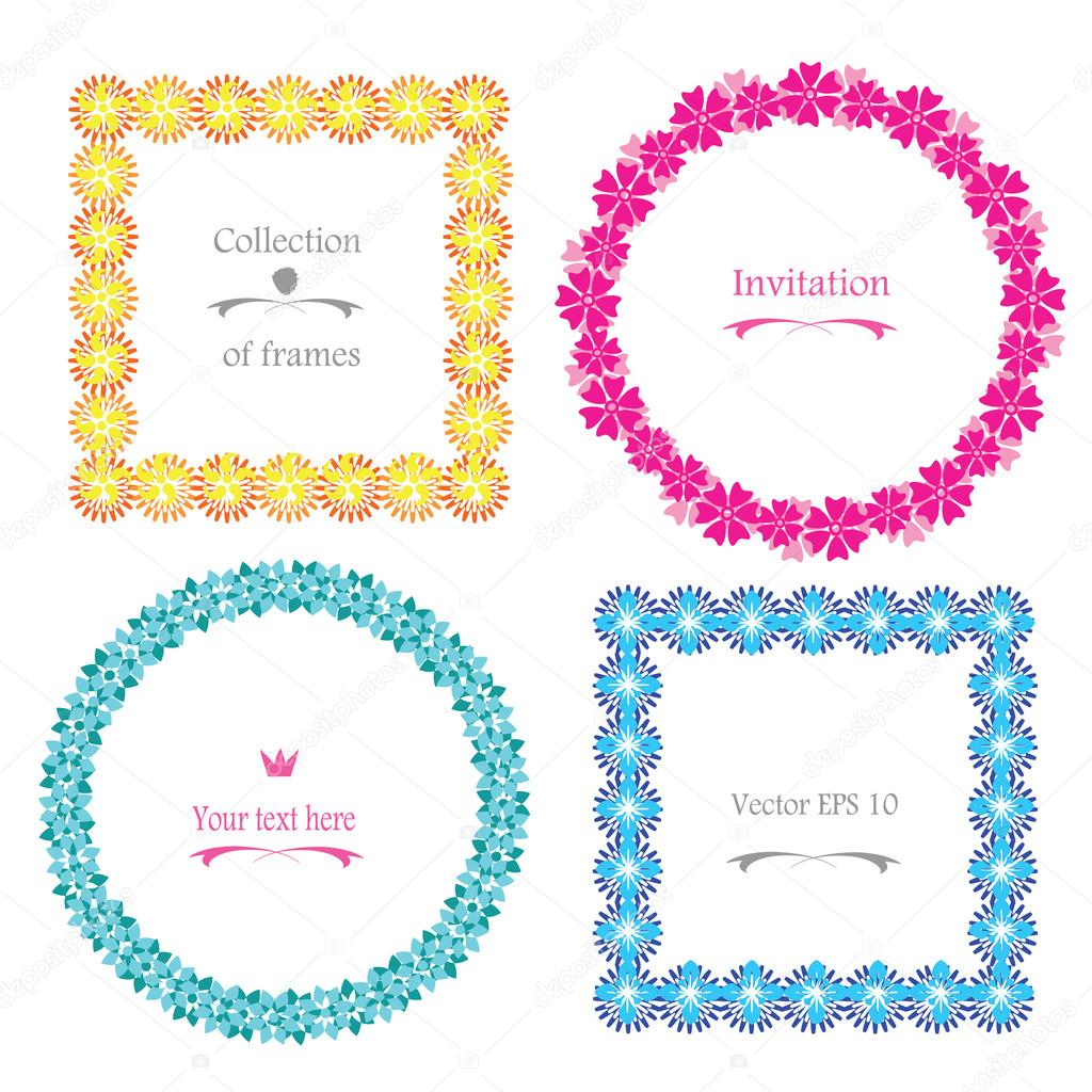 Cute Floral Frame vector set retro flowers wreath and border