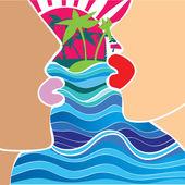 Fényképek Romantikus pár egyedül - előtt naplemente - vektoros illusztráció a férfi és a nő arca silhouette ajkak kiss - csók, kék tenger, hullámok, pálmafák a háttérben trópusi szigeten. Vintage