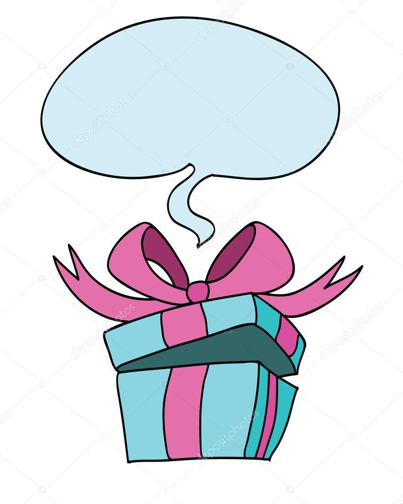 berraschung geschenk box vektor illustration des blauen geschenkschachtel mit blase als. Black Bedroom Furniture Sets. Home Design Ideas