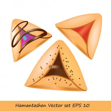 Purim cookie set - Hamantashen cookies. Jewish festive food for Purim holiday. Vector illustration of 3 various cookies named Amman Oznei (Aman ears). Cookies with red jam, chocolate.