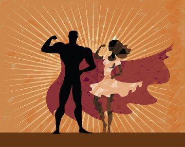 Superman and superwoman black silhouettes posing on grunge sunburn background. Superheros couple on vintage background. Man wear red cloak and strong woman in white dress. Retro american poster style.