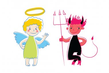 Cartoon little angel and devil. Vector illustration. Simple colored sketch. Two little spirit advisor as cute baby. Funny angel and demon character. As sign, symbol, icon.Isolated on white.