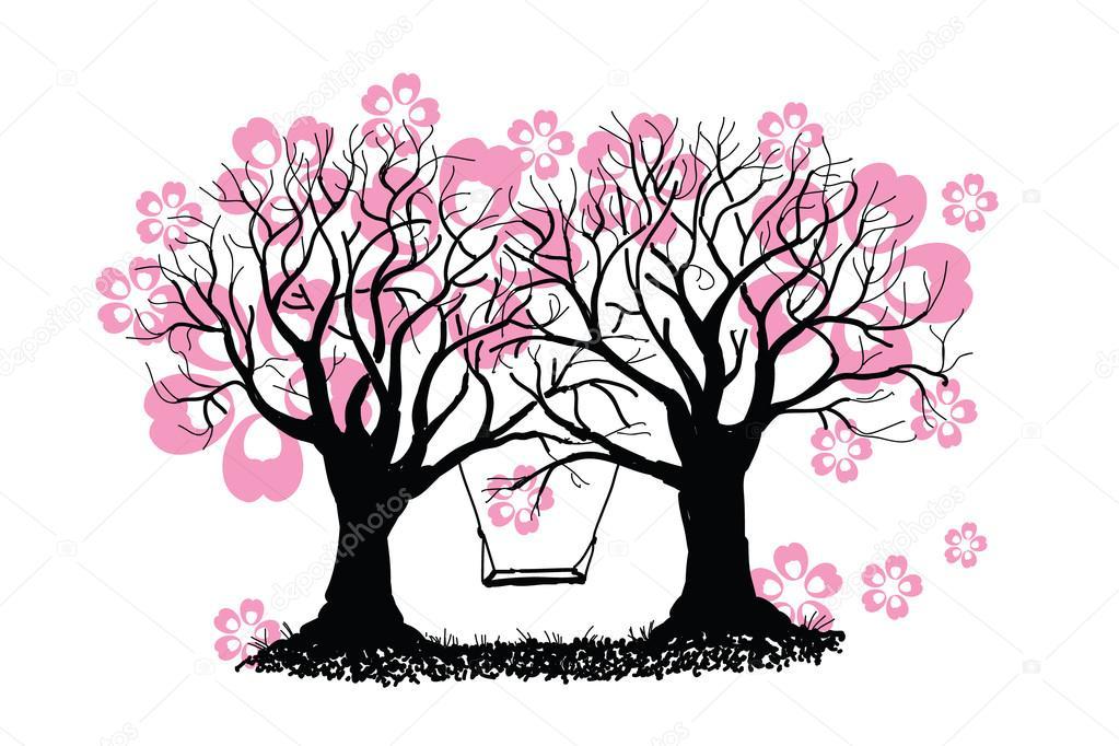 Pendeln Sie Zwischen Fruhjahr Bluhende Baumen Illustration Vektor