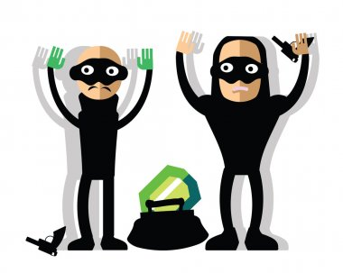 Masked robbers steal diamond - bad guys with guns and hand up. Funny childlike burglars with handbag and brilliant. Bandit giving up.