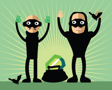 Masked robbers steal diamond - bad guys with guns and hand up. Funny childlike burglars with handbag and brilliant. Bandit giving up.Green sunburst background.