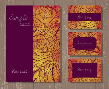 Vector set of templates invitations or greeting cards with hand drawn roses and watercolor elements on a wooden background.