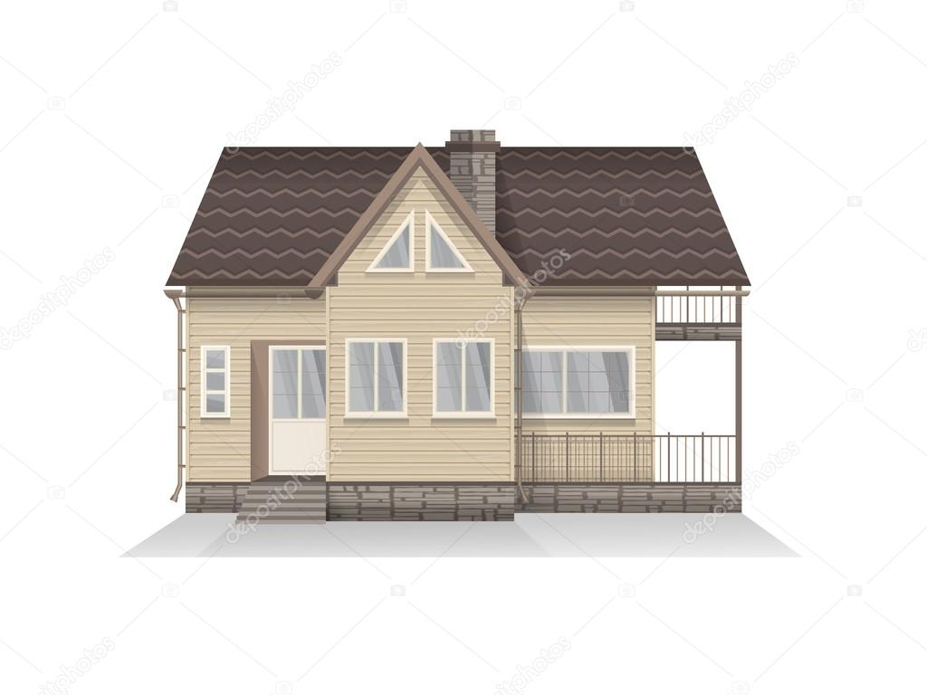 Illustrazione Vettoriale Di Casa Famiglia Suburbana Dettagliata Con Mansarda.  Casa Di Legno. Isolato Su Priorità Bassa Bianca U2014 Vettoriali Di NadezhdaSh