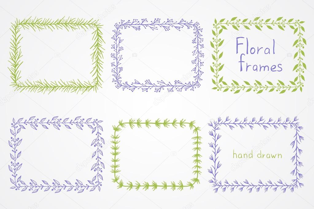 Conjunto de vectores de flores marcos rectangulares dibujados a mano ...