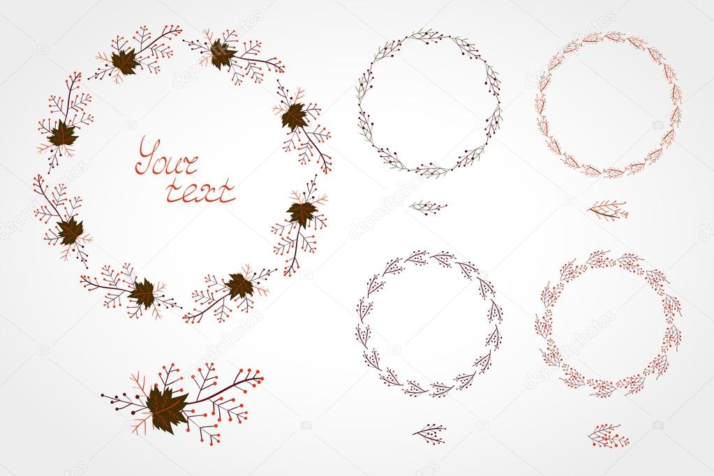 Vector set of simple round frames with autumn leaves and branche