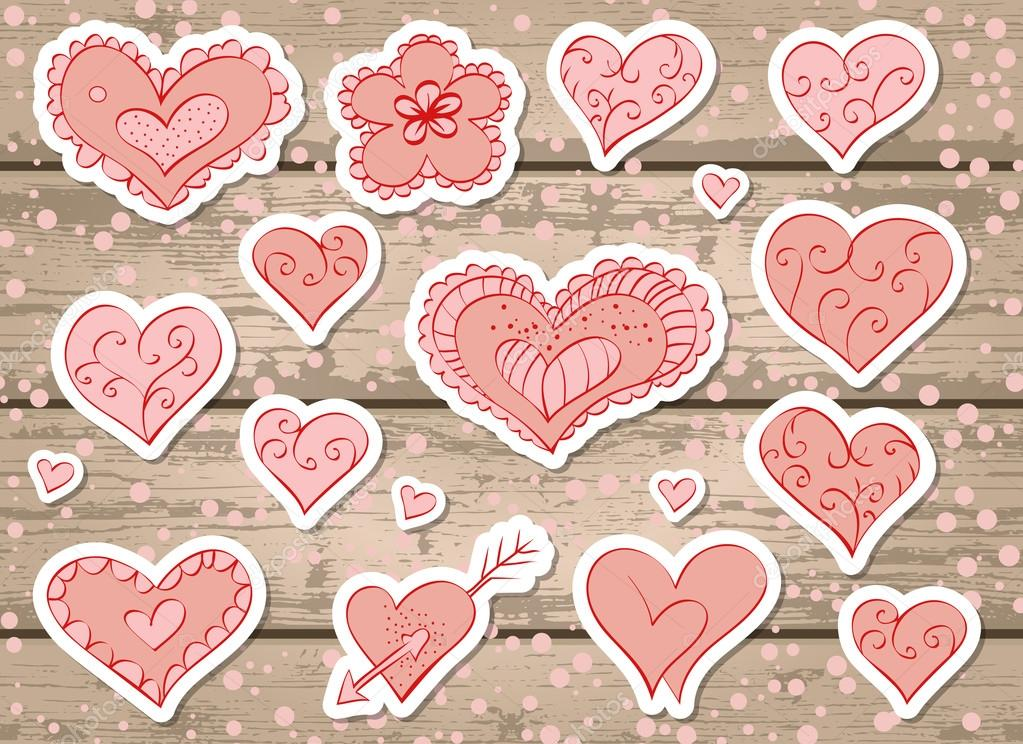 baffb1cd8dd Vector set of stickers with hearts and flower for Valentine s Day on a  wooden background. In pink color. — Vector by NadezhdaSh