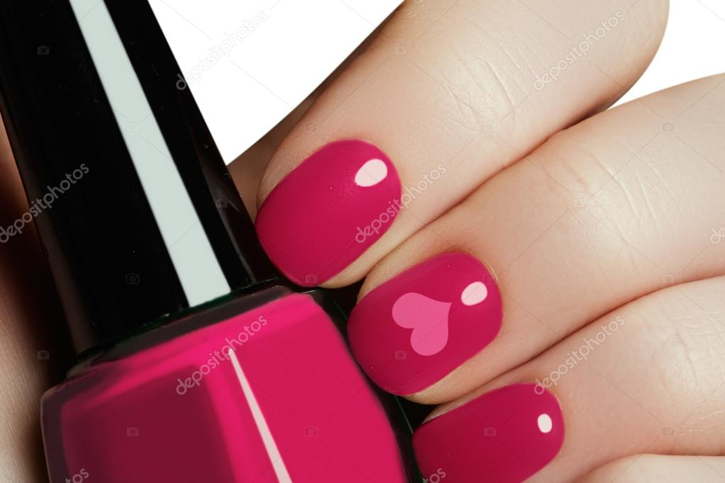 Valentine nail art manicure. Valentines day holiday style bright ...