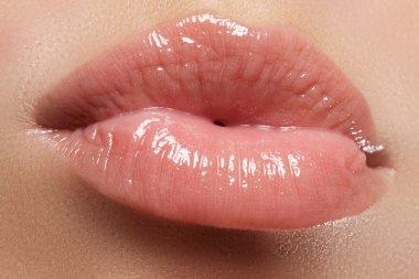 Sexy Lips. Beauty pink Lip Makeup Detail. Beautiful Make-up Closeup. Sensual Mouth. lipstick or Lipgloss. Kiss. Beauty