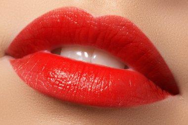 Make-up artist applies eyelashes make-up. Beautiful woman face. Perfect make-up