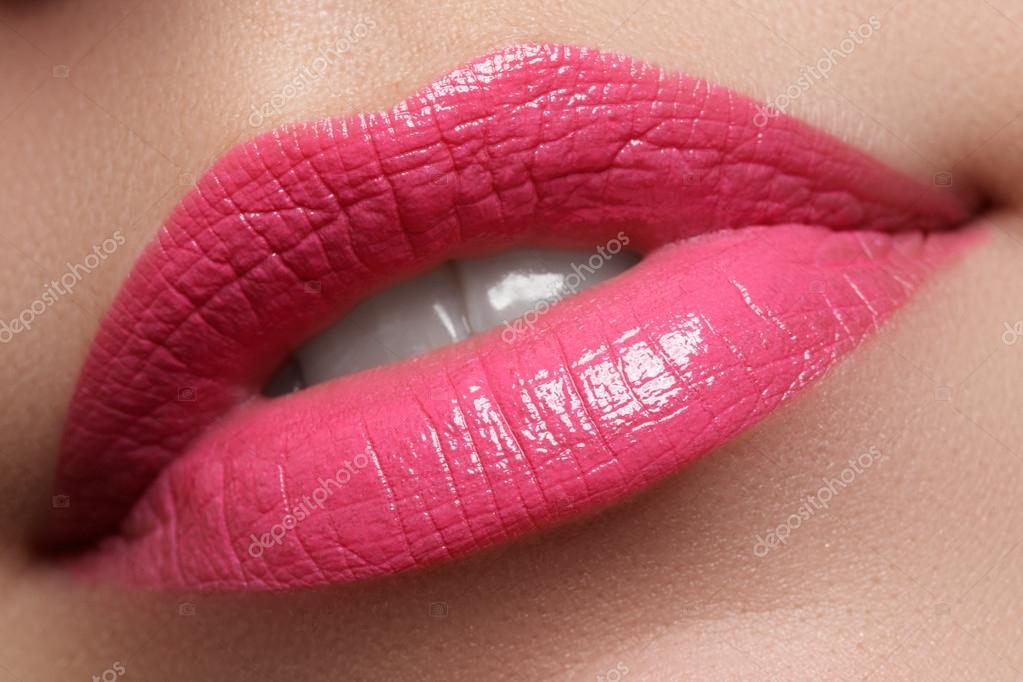 Sexy woman's lips  Beauty pink lips make-up  Beautiful make