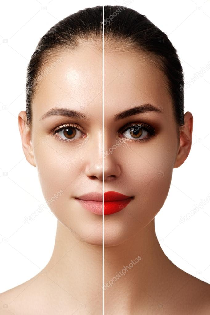 Beautiful young  woman before and after make-up applying. Comparison portrait. Two parts of model face with and without makeup. Two parts of face, with bright make up and natural
