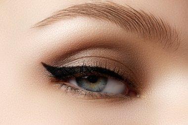 Cosmetics & make-up. Beautiful female eye with sexy black liner makeup. Fashion big arrow shape on woman's eyelid. Chic evening make-up