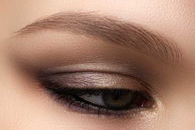 Eye makeup. Beautiful eyes make-up. Holiday makeup detail. Long eyelashes. Close-up shot of female eye make-up in smoky eyes styl