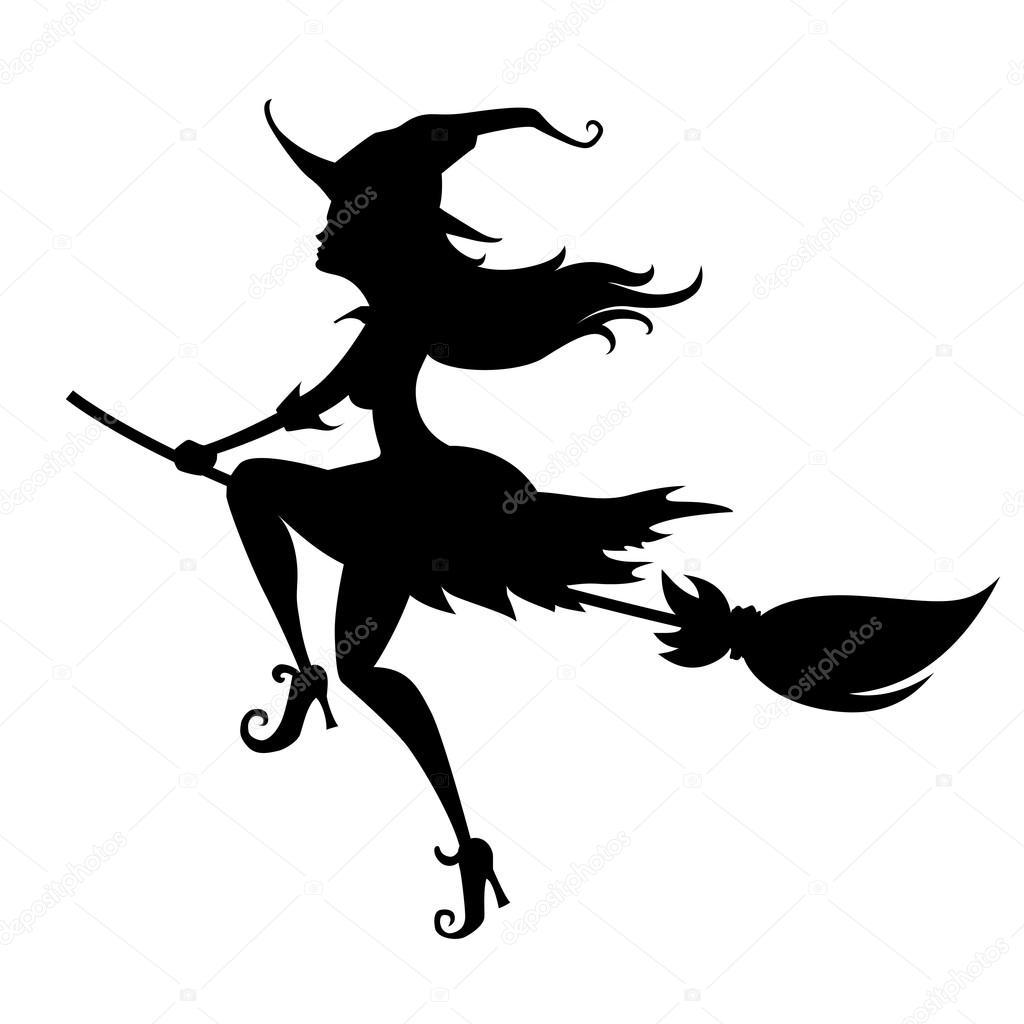 halloween hexe silhouette stockvektor 124443722 broom clip art free broom clipart transparent