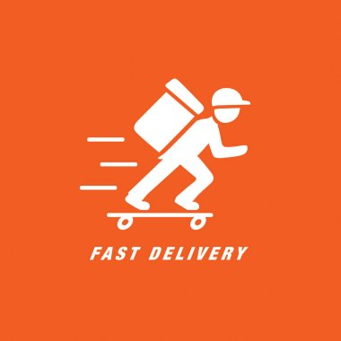 Delivery man, vector illustration icon