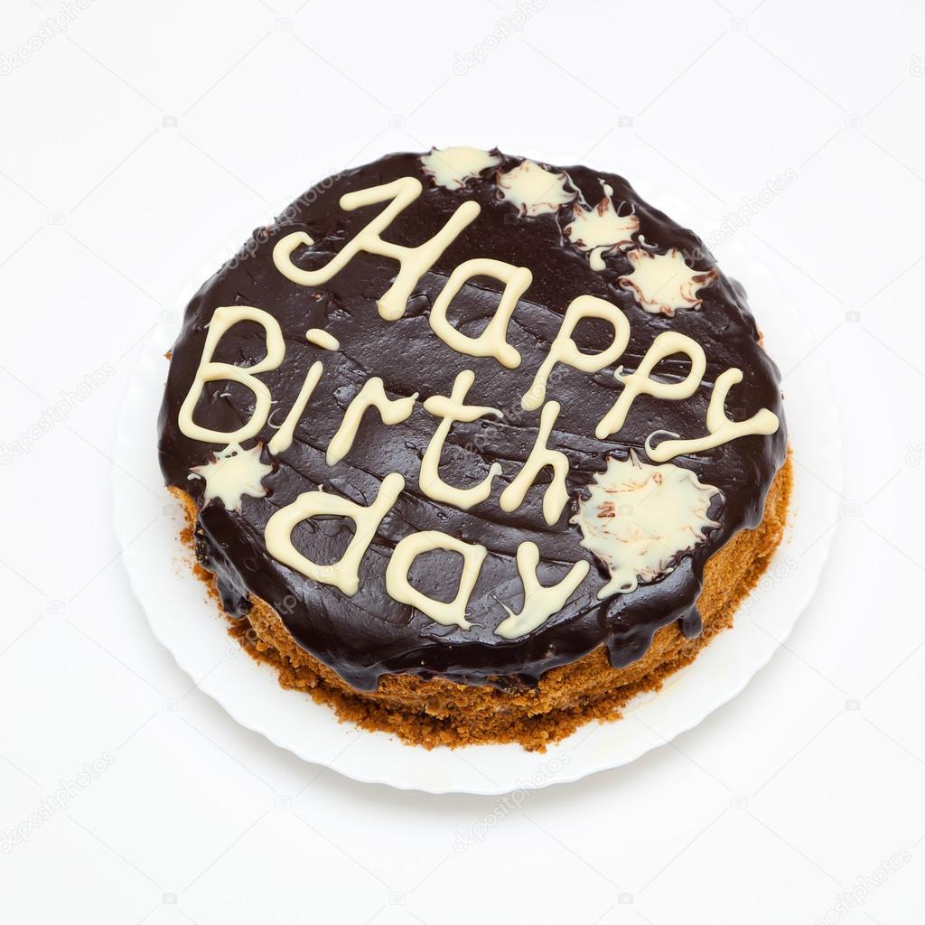 Pastel de cumpleaños con glaseado de chocolate y Letras — Fotos de ...