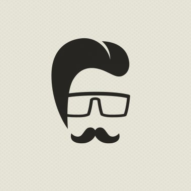 Silhouette of a man in the hipster style
